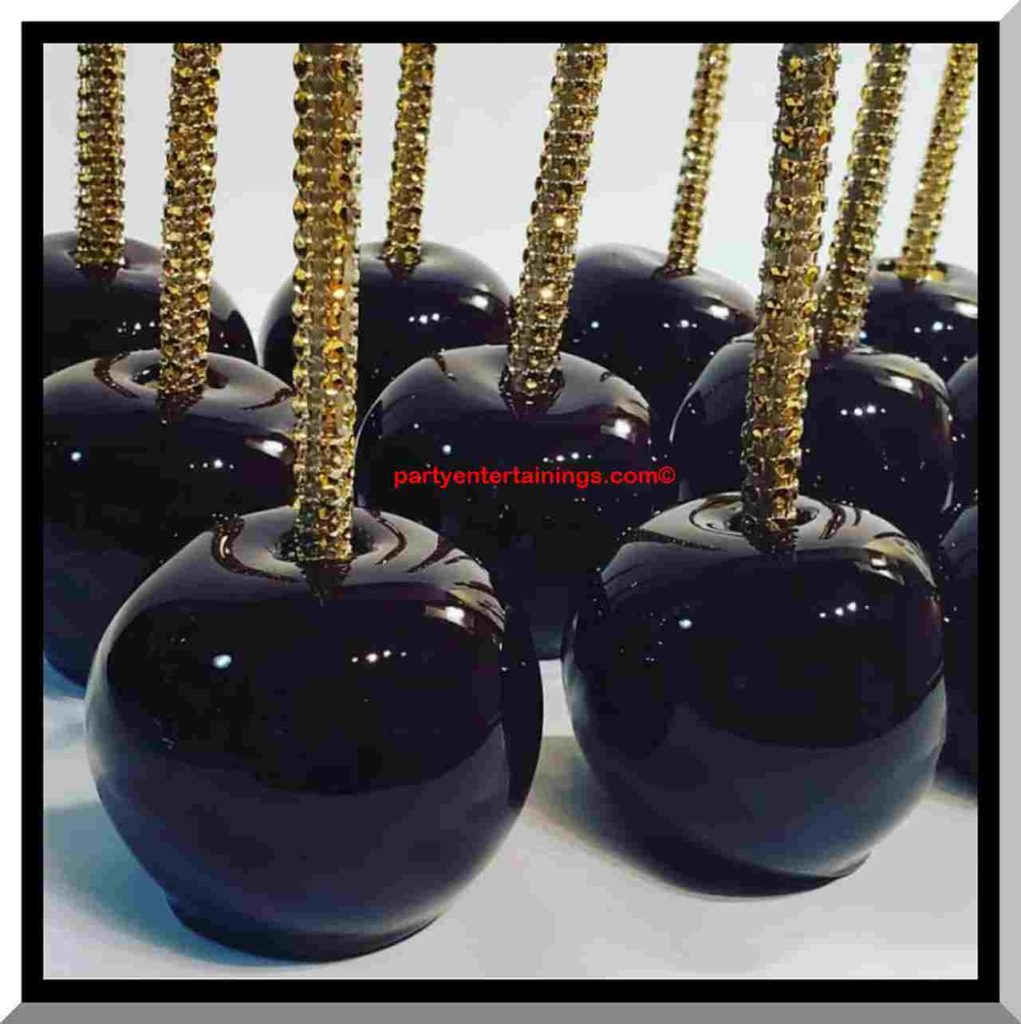 halloween black candy apples